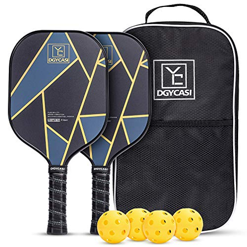 Graphite Pickleball Paddles Set of 2, 2 Premium Lightweight Graphite Face Honeycomb Composite Core Paddles Low Edge Guard, 1 Racket Bag and 4 Balls,7.97OZ,Blue-Table Tennis Racket