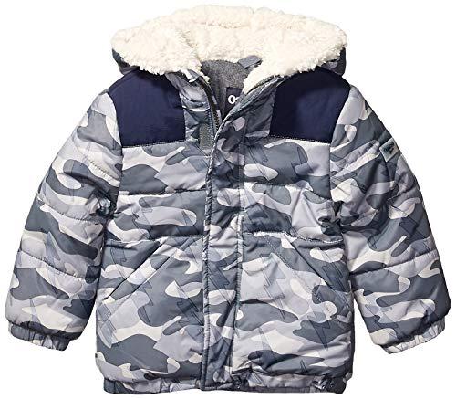 Osh Kosh Boys' Toddler Heavyweight Winter Jacket with Sherpa Lining, Camo Print/Deep Navy, 2T