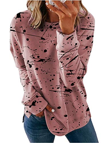 Dearlove Damen Sweatshirt mit Rundhalsausschnitt, Batik-Optik, gestreift, bedruckt, locker, weich, lange Ärmel, Übergröße Gr. 40-42, F-pink