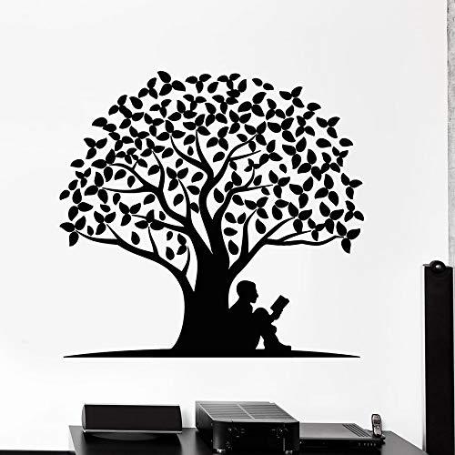 Calcomanías de pared de lectura raíces de árboles hojas pegatinas de ventana de vinilo natural aula biblioteca sala de lectura decoración de interiores mural