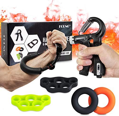 FOLNG Handtrainer Fingertrainer, mit Zählfunktion Handgelenk-Unterarm-Handtrainer, Fingerübungs-Verstellbarer Greifer für die Wiederherstellung von Verletzungen und Muskelaufbau [6er Set]
