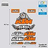 Pegatina Adhesivo Vinilo Compatible con KTM Moto Enduro Impresión Digital Laminado contra Rayos Uvi y Arañazos Hoja A 4 (12 Stickers)