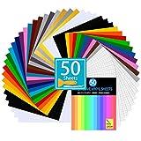 "Permanent Adhesive Vinyl Sheets Set - 50 Vinyl for Cricut, 34 Color Vinyl Sheets 12""x 10"" for Decor Sticker, Weeding Machine, Craft Cutter Machine, Printers, Letters, Car Decal, Vinyl Paper"