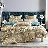 Bettwäsche 135x200 Gold Blau Jacquard Blumenmuster Stickerei Bettbezug 2 Teilig Microfaser Satin Luxuriös Wendebettwäsche Set mit Reißverschluss - 135 x 200 + 80 x 80 cm