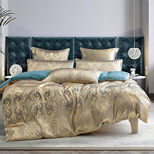 Juego de ropa de cama, 3 piezas, 220 x 240 cm, color dorado y azul, jacquard, diseño de flores,...