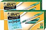 BIC Round Stic Grip Xtra Comfort Ball Pen Medium Pt 1.2mm Green 2DOZEN GSMG11GN