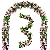 Mazheny 2 Pack 6.5 FT Artificial Flowers Rose Vine Plants Hanging Rose Ivy Wedding Garland Greenery Home Hotel Office Party Garden Craft Art Decor (Pink)