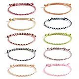 VU100 10 Stück Freundschaft Armbänder für Frauen Mädchen Handgefertigt Geflochten Wickelarmband Mehrfarbig Gewebte Dünn Saiten, Weihnachten Geschenk