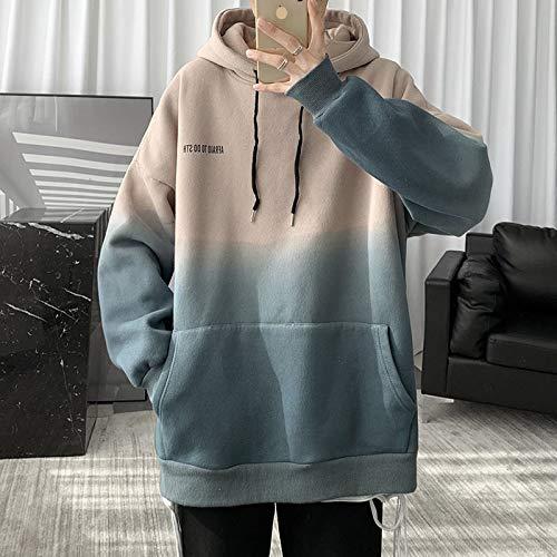 GNEHSL Capucha Primavera y otoño Moda gradientes Coreanos Hombres Sudaderas con Capucha otoño Sudaderas Moda Hombre Streetwear Casual Pullovers,Apricot,L