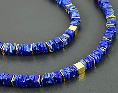Lapislazuli-Kette, eckig, vergoldetes 925er Silber, Würfel, blau, Collier