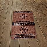 SML Alfombra-Felpudo desinfectante para Entrada hogar y Negocio,Limpia Zapatos,Antideslizante y Lavable.Medida 60x85cm (Marrón)
