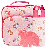 Bentology Lunch Box Set for Kids - Girls Insulated Lunchbox Tote, Water Bottle, and Ice Pack - 3 Pieces - Unicorn