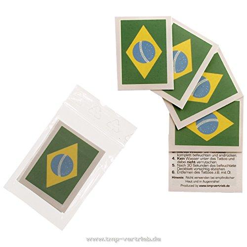 5 x Brasilien Tattoo Fan Fahnen Set - WM 2018 Brazil temporary tattoo Flag (5)