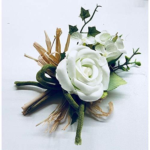 Bouquet Rosa Rose colore BIANCO con paglie e corda BOMBONIERA