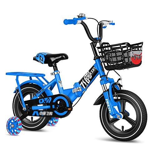CivilWeaEU Niños En Bicicleta con Ruedas De Entrenamiento para 2-10 Años Old Boys 31' - 55' De Altura De 12-18 Pulgadas De La Bicicleta Plegable Niño con Estabilizadores Y Naranja Cesta, Azul, Rojo