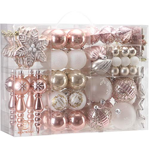 Sea Team 108-Pack Assorted Shatterproof Christmas Ball Ornaments Set Decorative Baubles Pendants with Reusable Hand-held Gift Package for Xmas Tree (Rose Gold)
