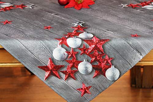 Kamaca Tischdecke RED Stars hochwertiges Druck-Motiv mit weihnachtlichen Motiven mit Lotus Effekt FLECKSCHUTZ EIN Schmuckstück zu Winter Advent Weihnachten (RED Stars, Tischdecke 80x80 cm)