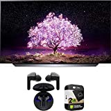 LG OLED55C1PUB 55 Inch 4K Smart OLED TV with AI ThinQ (2021) Bundle with Premium 2 Year Extended Protection Plan and LG Tone Free HBS-FN6 True Wireless Earbuds Bluetooth Meridian Audio w/UVnano Case