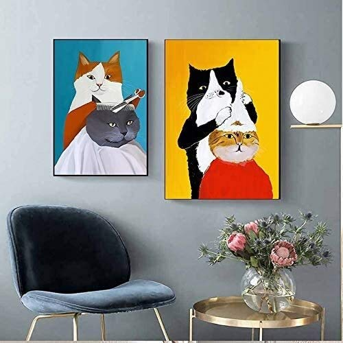 MENG Frameless painting Funny cartoon animal cat hairdresser on canvas with Nordic style wall decorationAY5253 25X35cm,35cmX45cm Background wall painting
