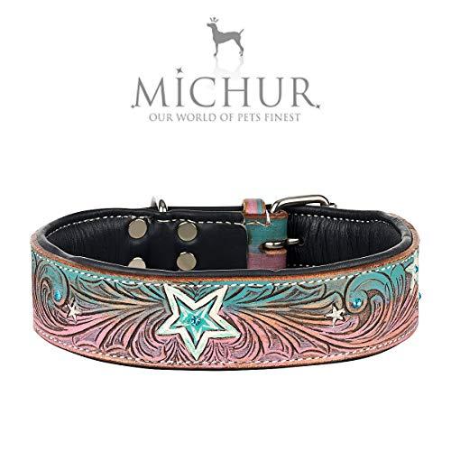 MICHUR Stardust Hundehalsband Leder, Lederhalsband Hund, Halsband, Leder, Stern Muster, Braun Grau Pink Grün, mit Steinchen, in verschiedenen Größen erhältlich