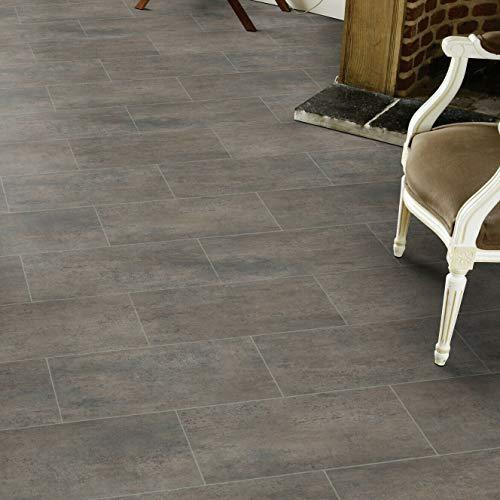 PVC Bodenbelag Fliese Melbourne Braun mit Textilrücken (Muster DIN A4)