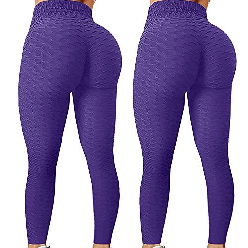 MILONT 2Pc TIK Tok Leggings Levantamiento de glúteos Mujeres Pantalones de Yoga Cintura Alta Pantalones de Entrenamiento Burbuja, Púrpura, L