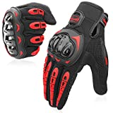 COFIT Motorcycle Gloves for Men and Women, Full Finger Touchscreen Motorbike Gloves for BMX ATV MTB Riding, Road Racing, Cycling, Climbing - Red L