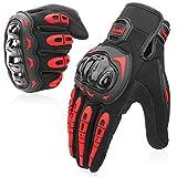 cofit guanti da moto, touchscreen sulle dita, guanti per corse in motocicletta, per guidare quad (atv), per arrampicata, escursioni e altri sport all'aperto - rosso l