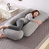 Almohada de Embarazo, Almohada Embarazada Dormir en Forma de J, Multifuncional Embarazo Almohada de Cuerpo Completo para Soporte de Vientre/Caderas/Piernas/Espalda, Extraíble Lavable (Gris claro)