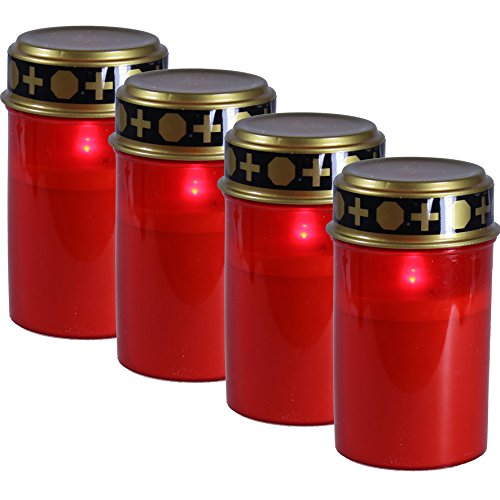 Fachhandel Plus 4er Set Grablichter rot, LED Kerze, Grabkerze, Ewiges Licht, Flackereffekt