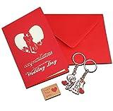 Regalo de compromiso de boda Tarjeta 3d Pop Up con boda par llavero, Scarlet sobre y amor pegatina de papel Kraft hecho a mano de regalo para tarjetas llavero Amante tarjeta de felicitación