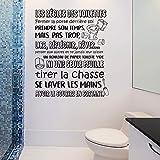 Walplus Adhésif Autocollant Mural Salle à Manger pour les Garçons et les Filles Enfants Autocollant Mural Décor à la Maison Vinyle Citation de Cuisine Art Mural Toilette Règles Français