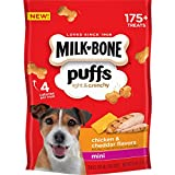 Contains (4) 8 Ounce Bags of Mini Sized Dog Treats Unique, crunchy and light textured dog treat Just 4 calories per treat Mini sized puffed dog treats are perfect for all dog sizes Packed with indulgent chicken and cheddar flavors your dog will love