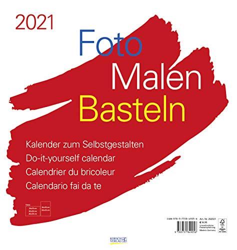 Foto-Malen-Basteln Bastelkalender weiß groß 2021: Fotokalender zum Selbstgestalten. Bastelkalender mit festem Fotokarton. Do-it-yourself Kalender Format: 45,5 x 48 cm