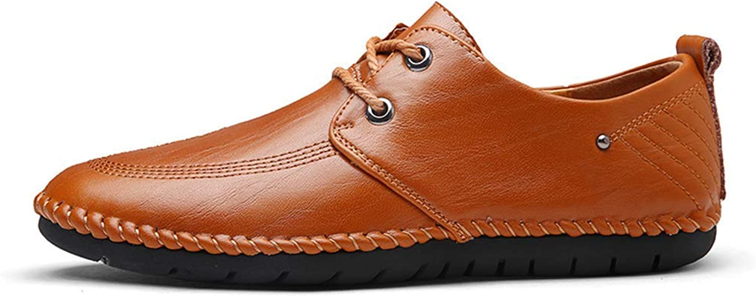 ZHRUI Mens Casual Sneakers Loafers Men Walking Driving shoes Flats Comfortable shoes Lace-Up Casual Dress shoes 38-44 (color   Brown, Size   7=39 EU)