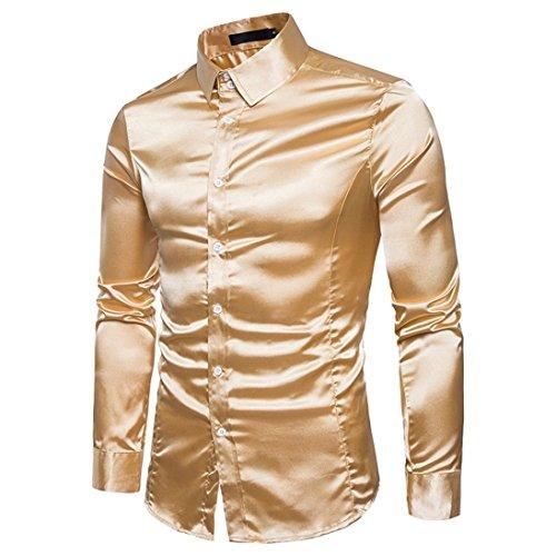 Herenhemd T-shirt, Dasongff mode persoonlijkheid heren overhemd shirt slim lange mouwen tops vrije tijd hemd business hemd blouse (M, goud)