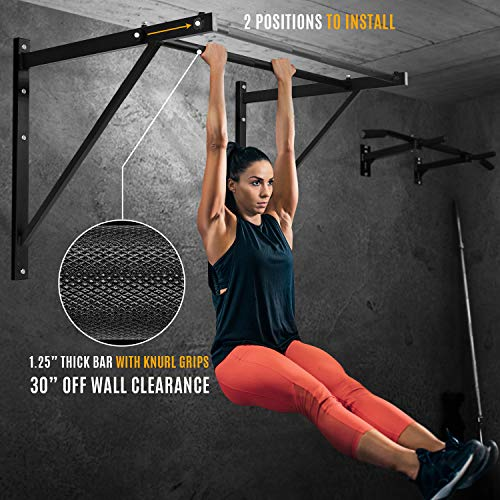 Product Image 2: Yes4All Heavy Duty Wall Mounted Pull Up Bar for Crossfit Training – Chin Up Bar/Pull Up Bar Wall Mount – Support up to 500 lbs (Black)