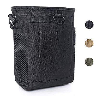 Tactical Molle Drawstring Magazine Dump Pouch, Adjustable Military Utility Belt Fanny Hip Holster Bag Outdoor Ammo Pouch (Black)