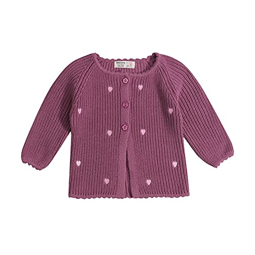 YQYJA Chaqueta de punto de lana para bebé, para otoño e invierno, morado, 12-18 Meses