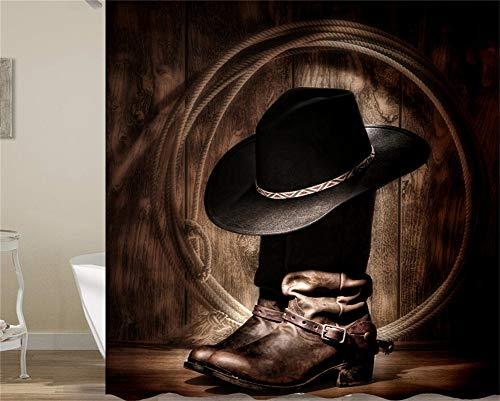 ZZZdz Cowboylaarzen van hout. Huisdecoratie. Douchegordijn. 180 x 180 cm. 12 vrije haken. 3D Hd-druk. Rijke patronen.