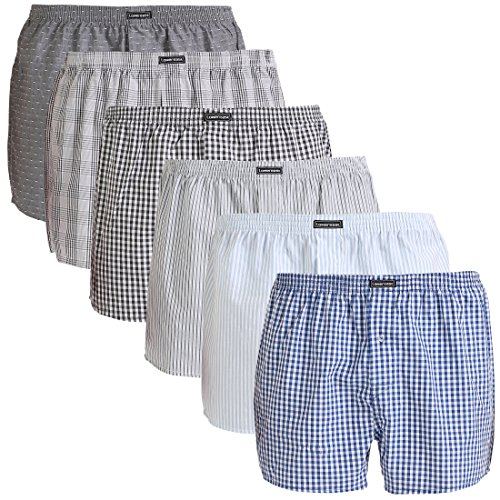 Lower East Herren American Boxershorts, 6er Pack, Mehrfarbig (Mustermix), Gr. Medium