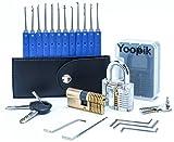 Yoopik Kit Ensemble de Crochetage Lockpicking Set Complet de 17 Pièces avec 2 Serrures d'entraînement - un Cadenas et Serrure en laiton à Double Cylindres, Housse de Transport et un guide eBook