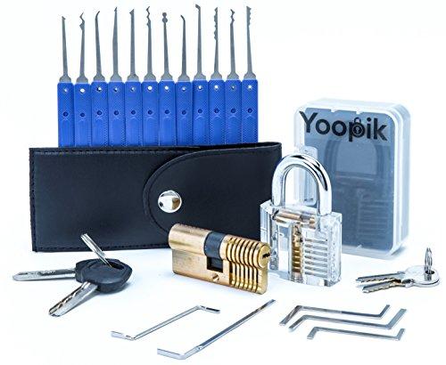 Yoopik Juego de 17 Ganzúas con 2 Cerraduras de Capacitación - un Candado y Cerradura de Leton de Doble Cilindro - Lock Pick Set en un Maletín de Transporte y eBook.
