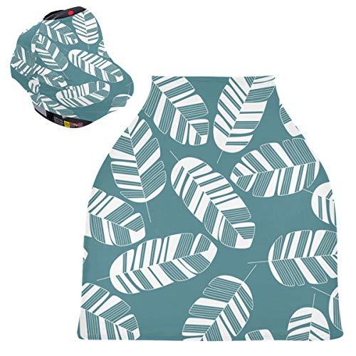 Sinestour Cubiertas de asiento de coche para bebé con hojas de palma, diseño tropical de hojas de palma, cubierta para carrito de la compra, toldo multiusos para asiento de coche, para bebé unisex