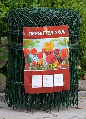 Profishop-Bremen Ziergitter Gartengitter Gartenzaun Maschendrahtzaun 40 cm hoch 10 m lang Zierzaun Zaun zum Stecken grün beschichtet