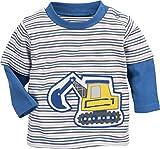 Schnizler Baby-Jungen Sweat-Shirt Interlock Bagger Geringelt Sweatshirt, Blau (Blau 7), 68