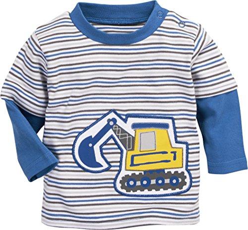 Schnizler Schnizler Baby-Jungen Sweat-Shirt Interlock Bagger Geringelt Sweatshirt, Blau (Blau 7), 62