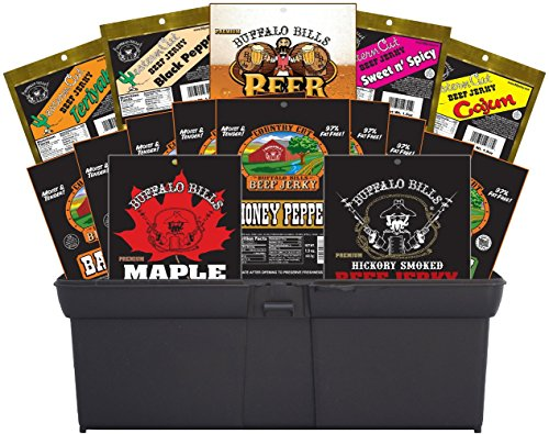 Buffalo Bills 16-Piece Beef Jerky Sampler Gift Tool Box (filled with 16 assorted beef jerky packs)