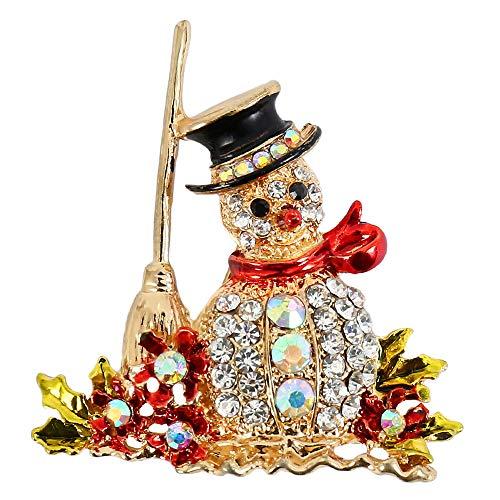 Kerstmis Broche Pins Sneeuwman Elegante Diamant Strass Overdekte Sjaals Sjaal Clip Xmas Ornament Sieraden Geschenken