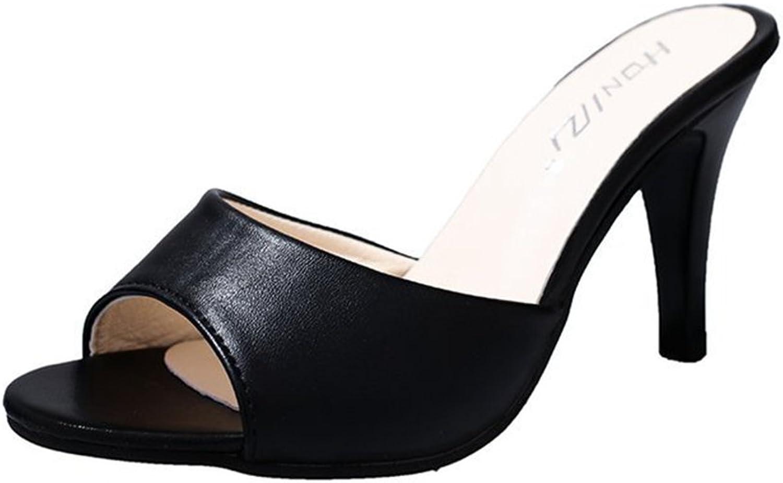 Btrada Women Sexy Heeled Slide Sandal Summer Open Toe Slip On Lazy shoes Fashion Fish Mouth Slipper